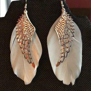 Jewelry - Silver feather angel wing earrings